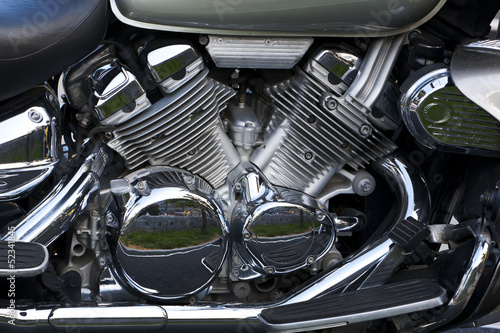 shiny chrome plated motorcycle engine