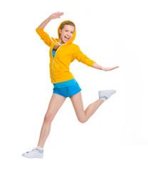 Happy teenager girl jumping