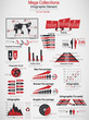RETRO INFOGRAPHIC DEMOGRAPHIC WORLD MAP ELEMENTS RED