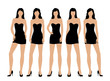 Women in little black dress