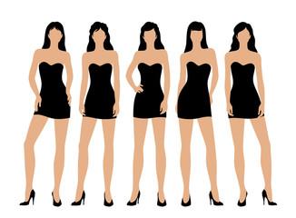 Women in little black dress