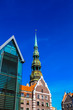 Old city in Riga, Latvia with Saint Peter's church