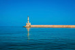 Famous lighthouse in bay in Chania at Crete, Greece
