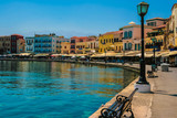 Promenade in city of Chania at island of Crete, Greece
