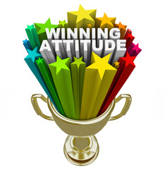 Winning Attitude Gold Trophy Stars Fireworks Good Vision
