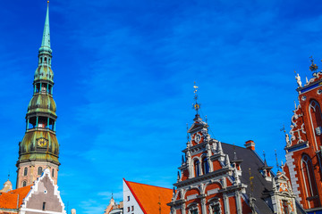 Blackheads house and Saint Peter's church in Riga, Latvia