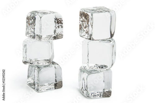 two columns of ice cubes on white with clipping path