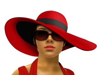 Mannequin in red with big hat and shades
