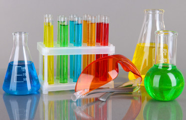 Test-tubes with colorful liquids on gray background