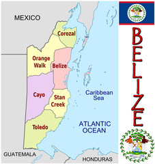 Belize  America emblem map symbol administrative divisions