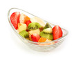 Fresh tasty fruits salad on a white background