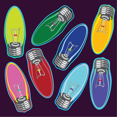 Colorful candle shaped lightbulbs