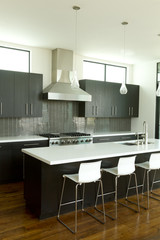 Modern Kitchen Left with 3 chairs