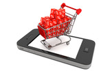 Shopping cart with discount cubes over Mobile Phone