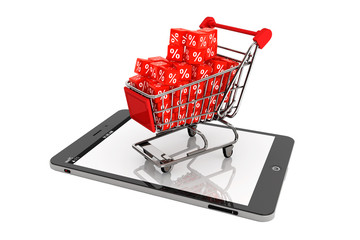 Shopping cart with discount cubes over Tablet PC
