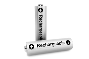 Two batteries on a white