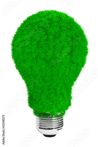 Green energy concept. Light bulb with green grass