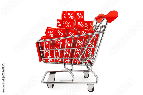 Shopping cart with discount cubes