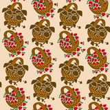 Seamless pattern of wicker baskets