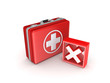 Red cross mark on a medical suitcase.