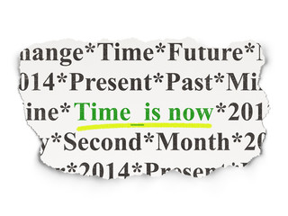 Time concept: Time is Now on Paper background