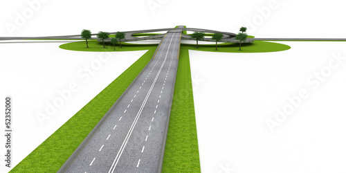 Crossroads and Highways isolated on white