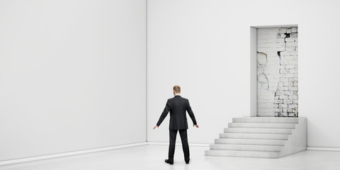 businessman into the room with blocked doorway