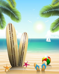 Surfboards on a beach with beach elements