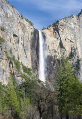 beautiful bridal veil falls, yosemite nat park, california, usa