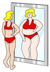 dicke und dünne Frau im Spiegel