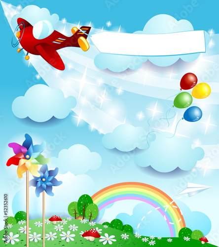 Spring background with airplane and banner