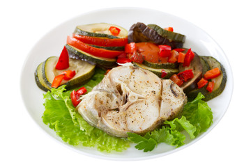 boiled fish with lettuce and vegetables
