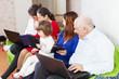 happy  family using few laptops