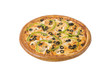 Chicken pizza with mushrooms and olives