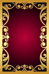 Vector vintage maroon frame with gold ornament