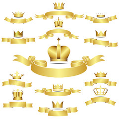 Set of vector golden crown with curves banner