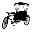 three wheel bicycle taxi  silhouette vector