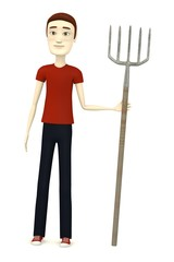 3d render of cartoon character with pitchfork