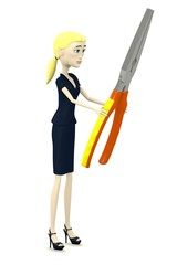 3d render of cartoon characer with pliers