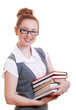 girl student in glasses with books in their hands