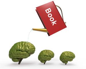 Regar con libro cerebro