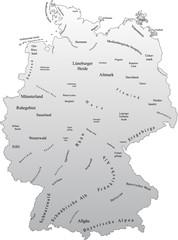 Deutschlandkarte mit Landschaften