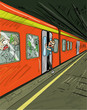 Cartoon of train filled with zombies