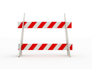 Road barrier red isolated