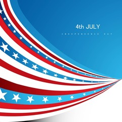 American Flag independence day wave vector design