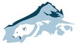 Polar bear head and tops of mountains - an emblem