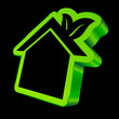 House Icon Leafs 3D Black/Green