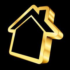 Golden House Icon 3D Black