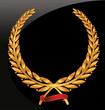 Laurel wreath with red ribbon set