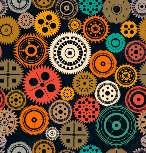 Seamless vector gear and cogwheel retro color background
